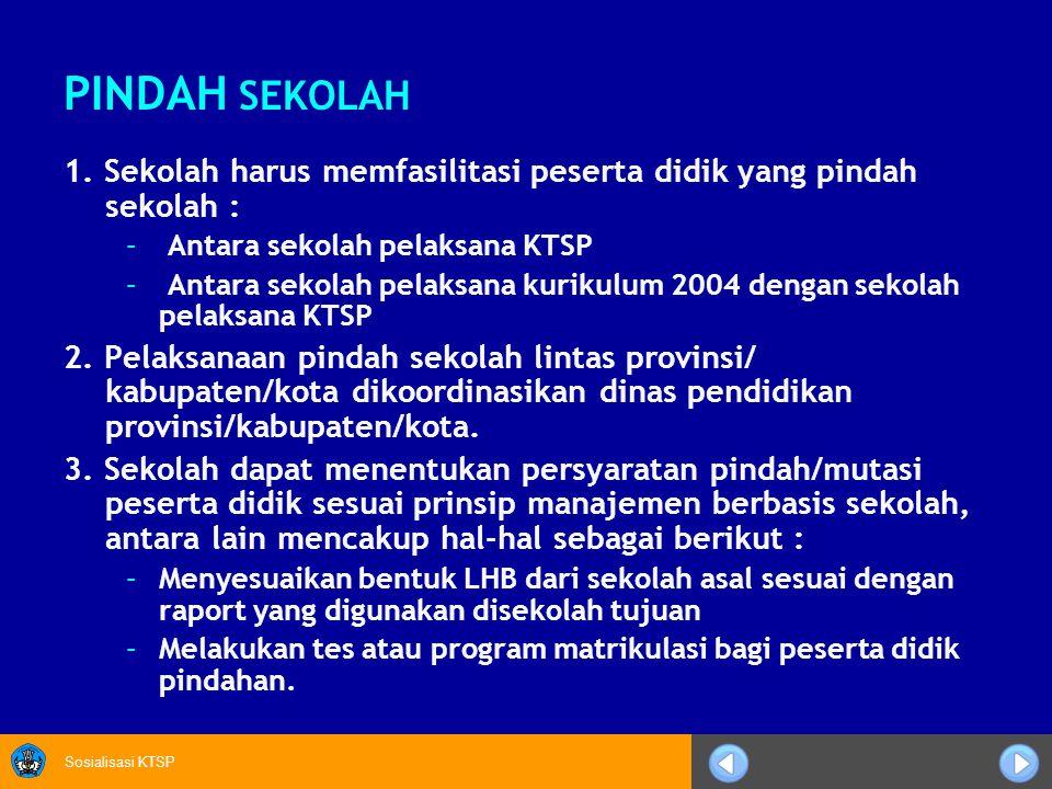 PINDAH SEKOLAH 1. Sekolah harus memfasilitasi peserta didik yang pindah sekolah : Antara sekolah pelaksana KTSP.