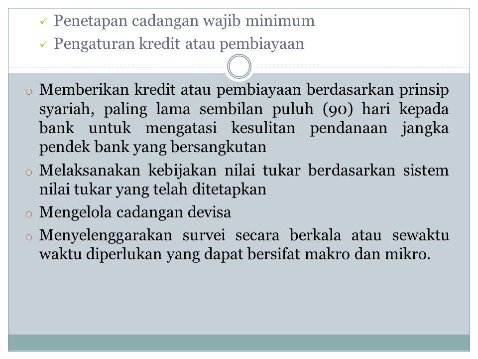 Penetapan cadangan wajib minimum
