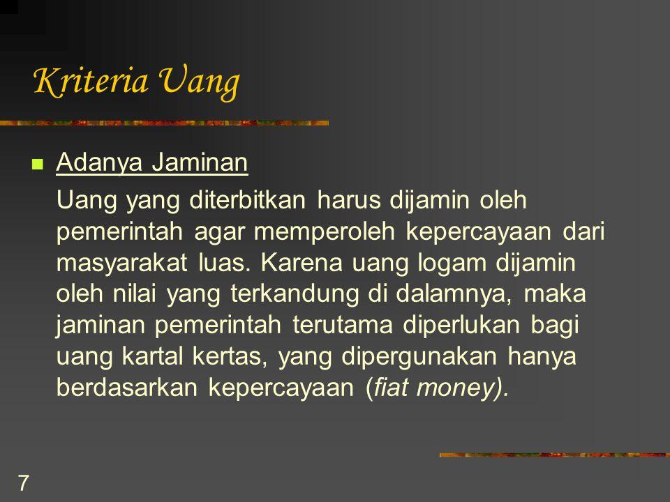 Kriteria Uang Adanya Jaminan