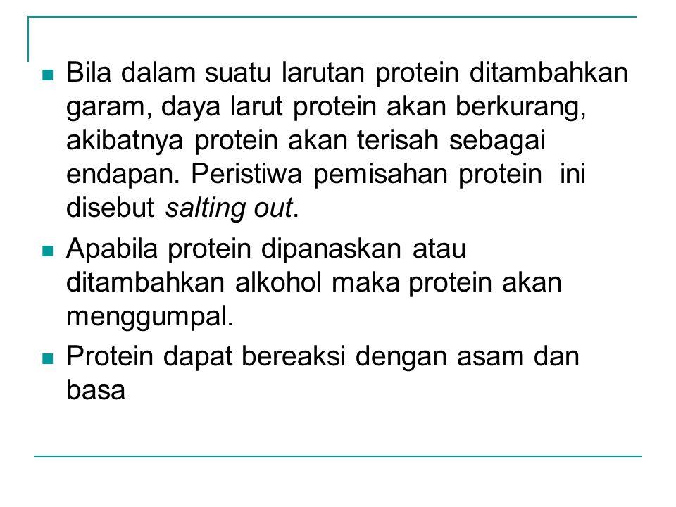 Bila dalam suatu larutan protein ditambahkan garam, daya larut protein akan berkurang, akibatnya protein akan terisah sebagai endapan. Peristiwa pemisahan protein ini disebut salting out.