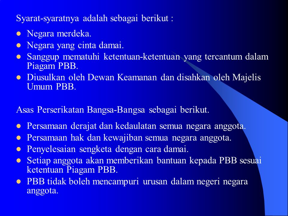 Syarat-syaratnya adalah sebagai berikut :