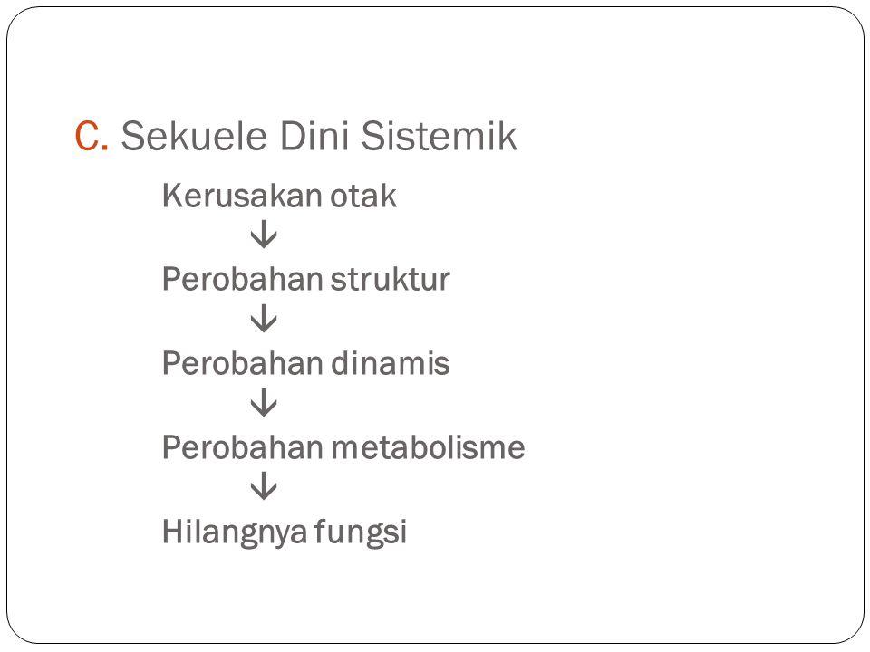 C. Sekuele Dini Sistemik. Kerusakan otak. . Perobahan struktur. 