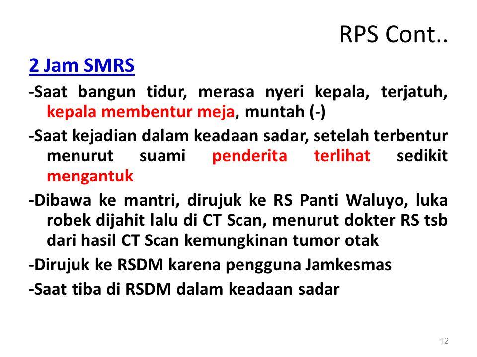 RPS Cont.. 2 Jam SMRS. -Saat bangun tidur, merasa nyeri kepala, terjatuh, kepala membentur meja, muntah (-)