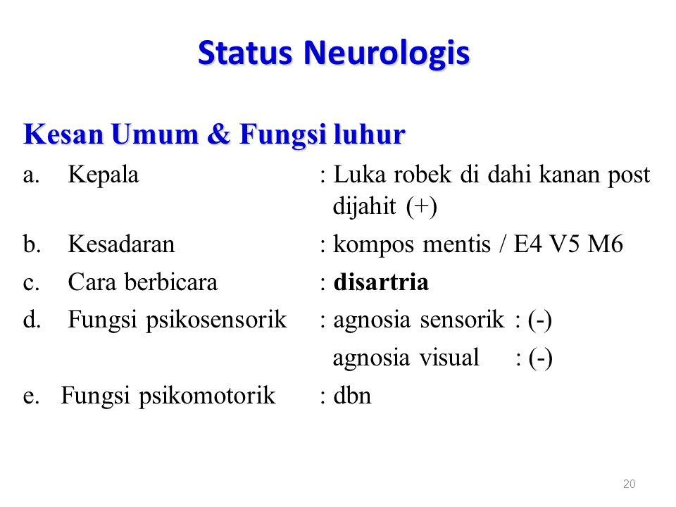 Status Neurologis Kesan Umum & Fungsi luhur
