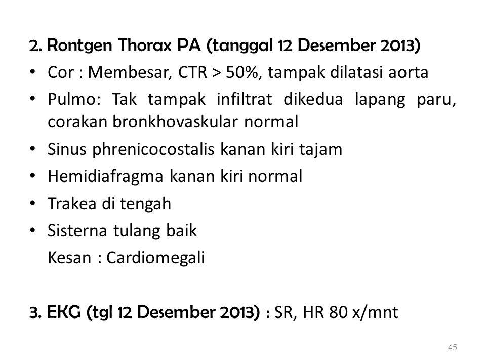 2. Rontgen Thorax PA (tanggal 12 Desember 2013)