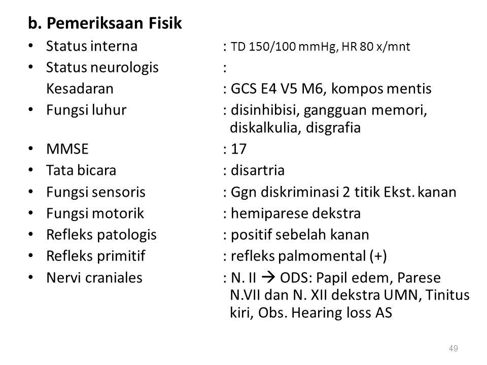 b. Pemeriksaan Fisik Status interna : TD 150/100 mmHg, HR 80 x/mnt
