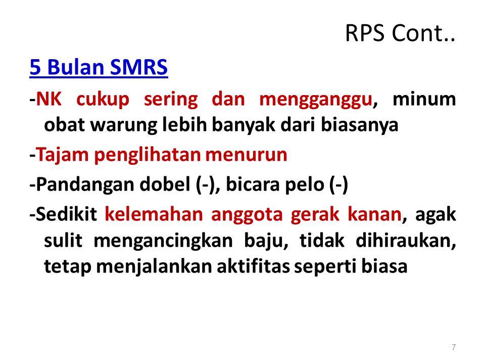 RPS Cont.. 5 Bulan SMRS. -NK cukup sering dan mengganggu, minum obat warung lebih banyak dari biasanya.