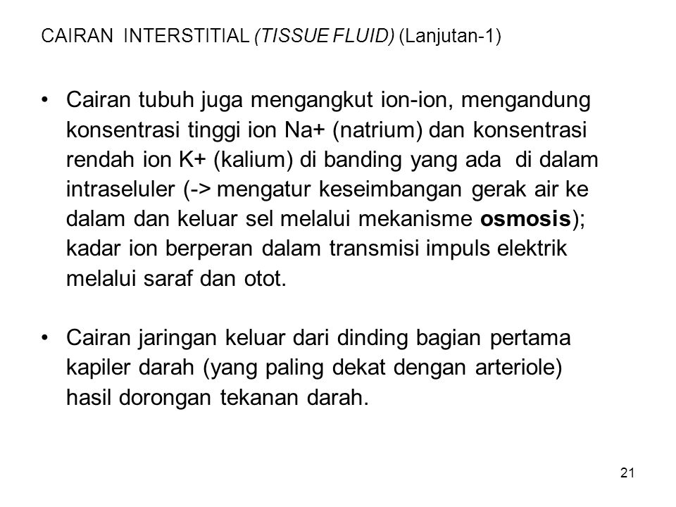 CAIRAN INTERSTITIAL (TISSUE FLUID) (Lanjutan-1)