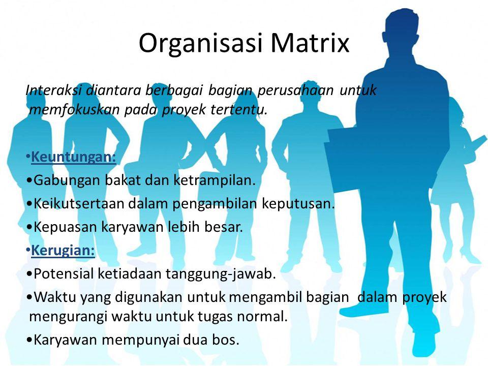Organisasi Matrix Interaksi diantara berbagai bagian perusahaan untuk memfokuskan pada proyek tertentu.