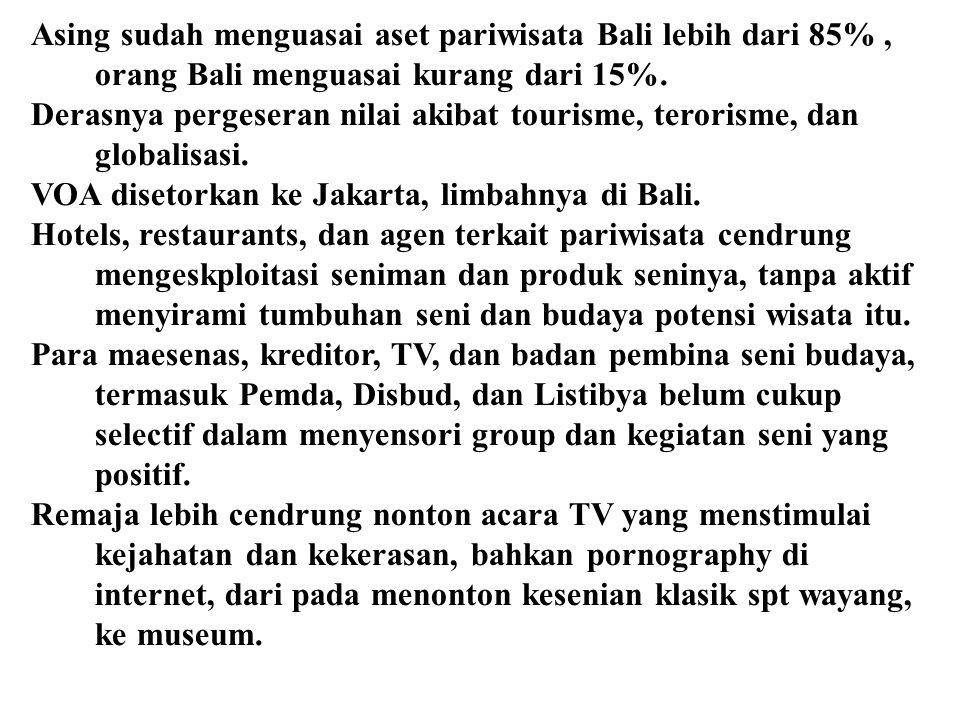 Asing sudah menguasai aset pariwisata Bali lebih dari 85% , orang Bali menguasai kurang dari 15%.