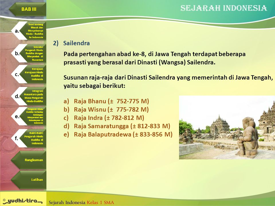 Raja Samaratungga (± 812-833 M) Raja Balaputradewa (± 833-856 M)