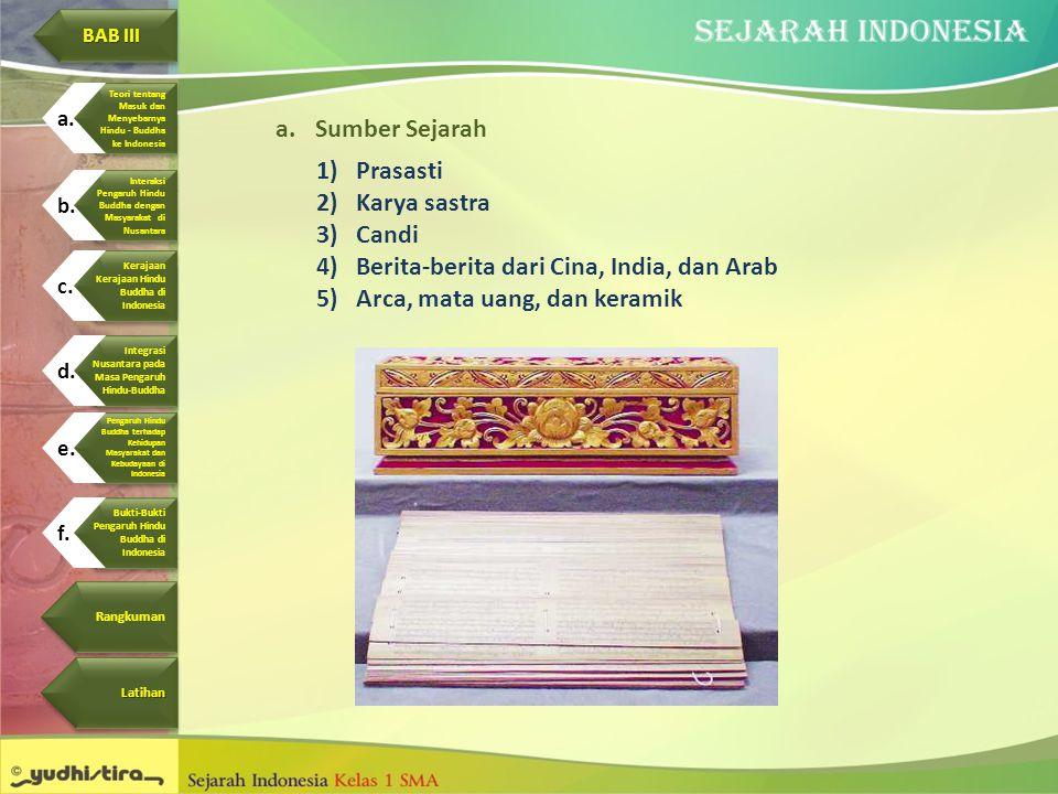 Berita-berita dari Cina, India, dan Arab Arca, mata uang, dan keramik