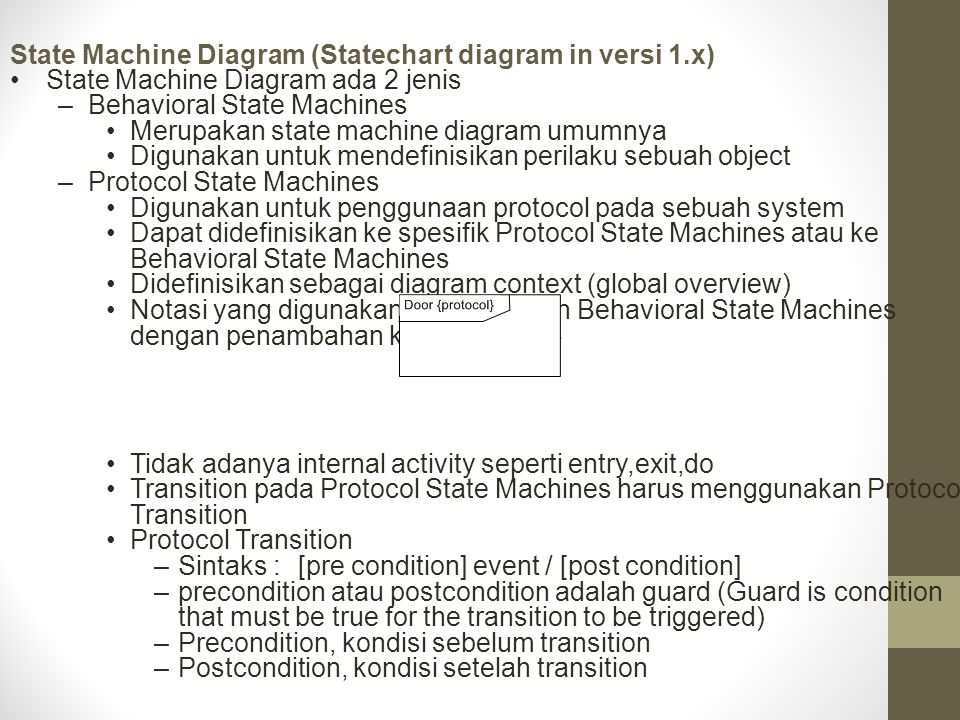 State Machine Diagram (Statechart diagram in versi 1.x)