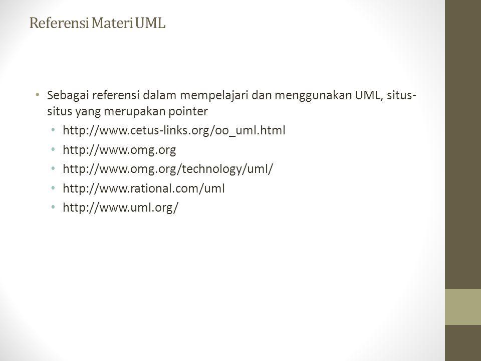 Referensi Materi UML Sebagai referensi dalam mempelajari dan menggunakan UML, situs-situs yang merupakan pointer.