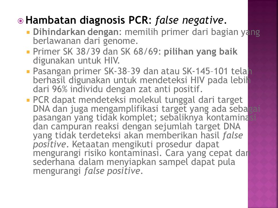 Hambatan diagnosis PCR: false negative.