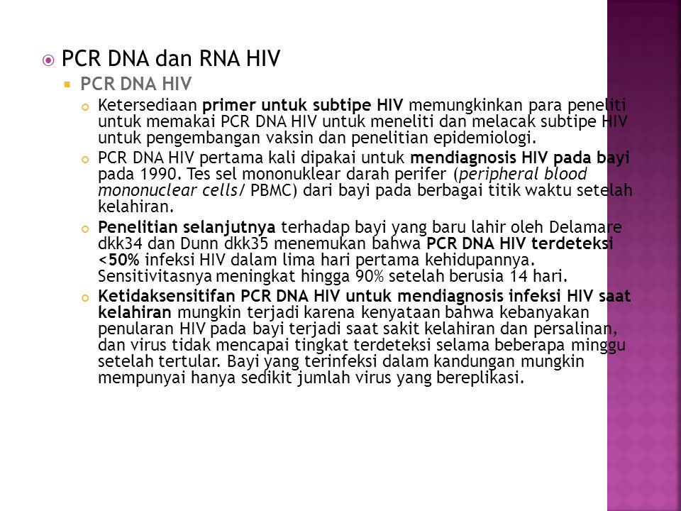 PCR DNA dan RNA HIV PCR DNA HIV