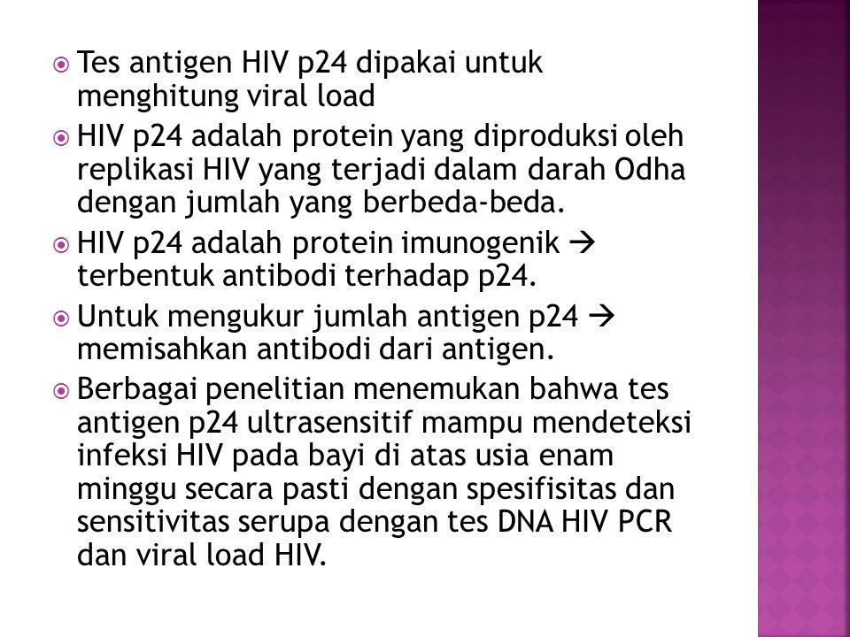 Tes antigen HIV p24 dipakai untuk menghitung viral load