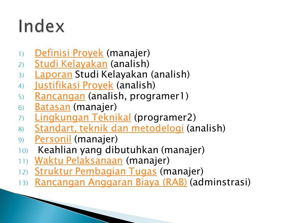 Index Definisi Proyek (manajer) Studi Kelayakan (analish)