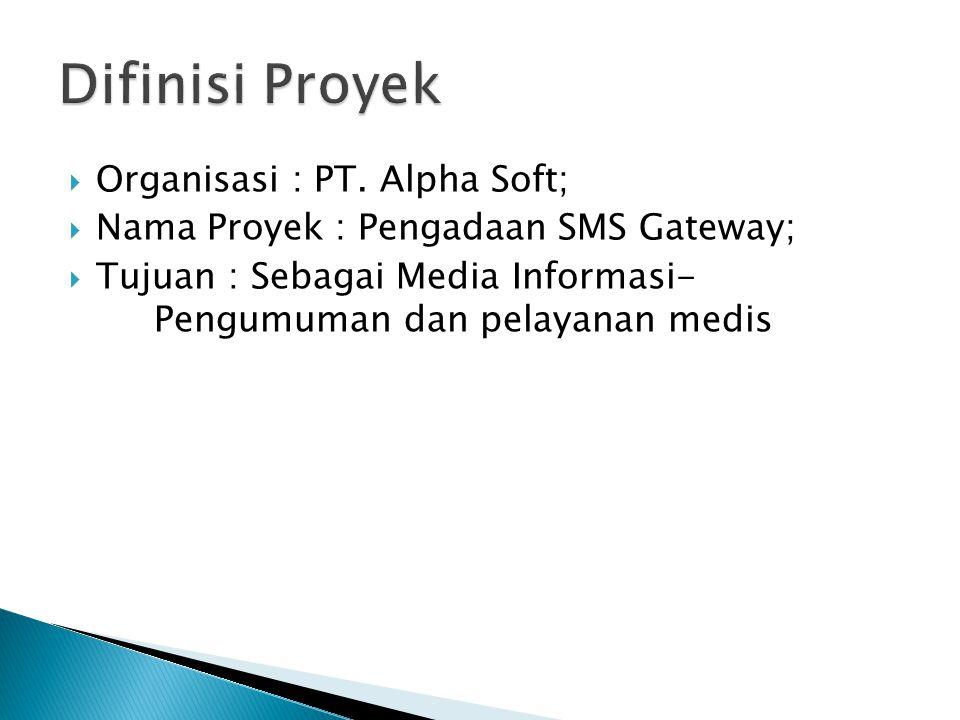Difinisi Proyek Organisasi : PT. Alpha Soft;