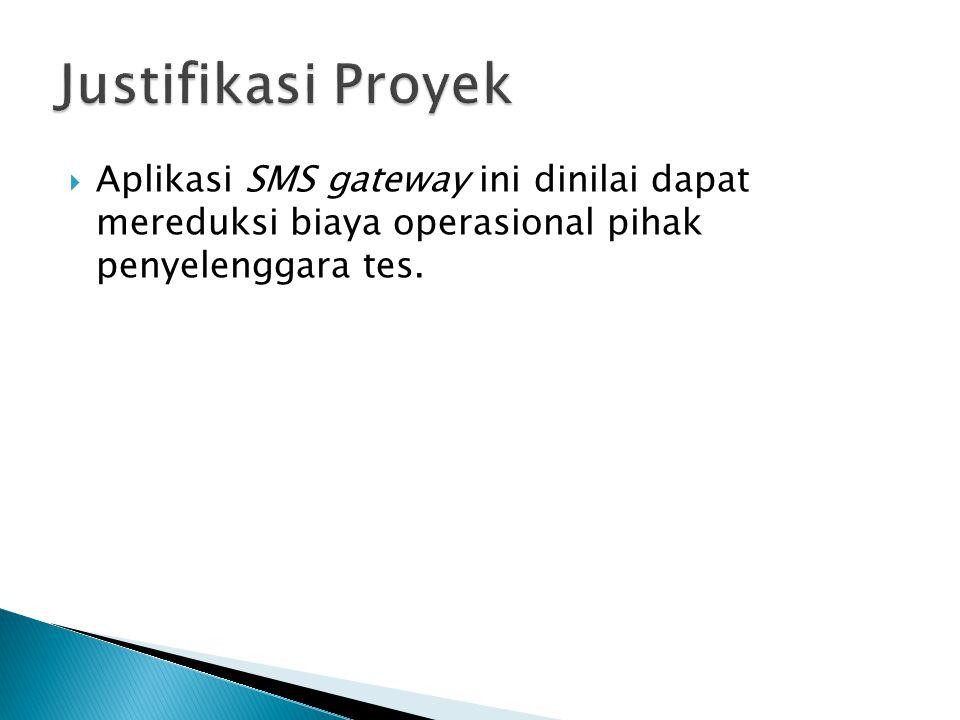 Justifikasi Proyek Aplikasi SMS gateway ini dinilai dapat mereduksi biaya operasional pihak penyelenggara tes.
