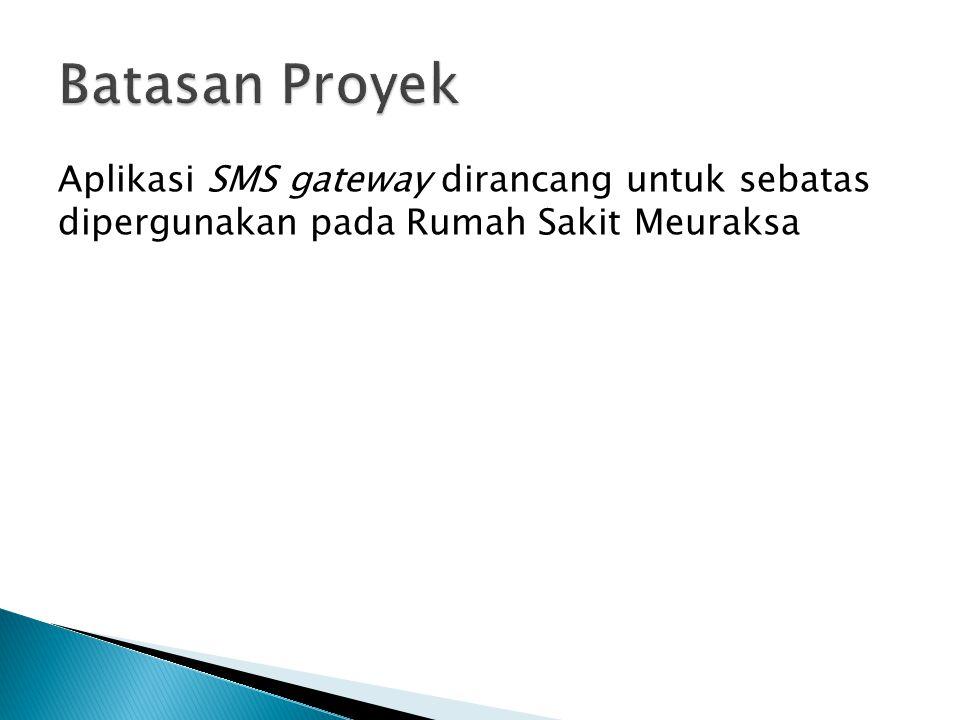 Batasan Proyek Aplikasi SMS gateway dirancang untuk sebatas dipergunakan pada Rumah Sakit Meuraksa
