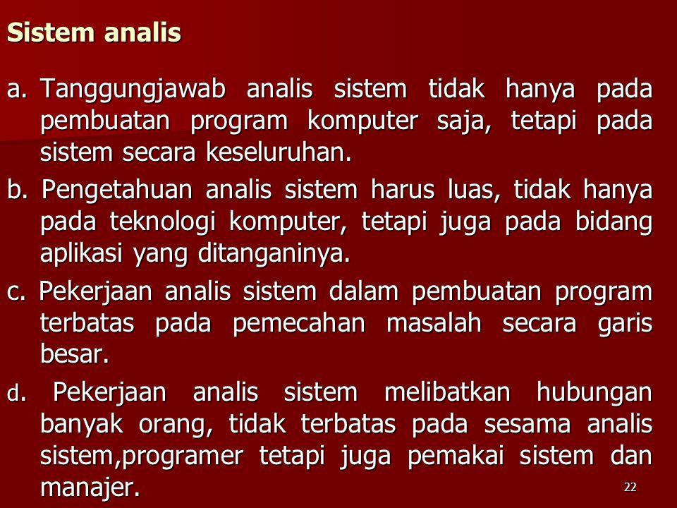 Sistem analis a. Tanggungjawab analis sistem tidak hanya pada pembuatan program komputer saja, tetapi pada sistem secara keseluruhan.