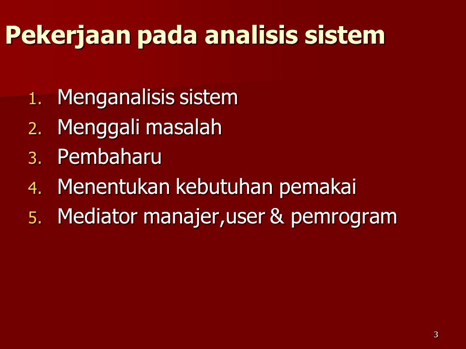 Pekerjaan pada analisis sistem
