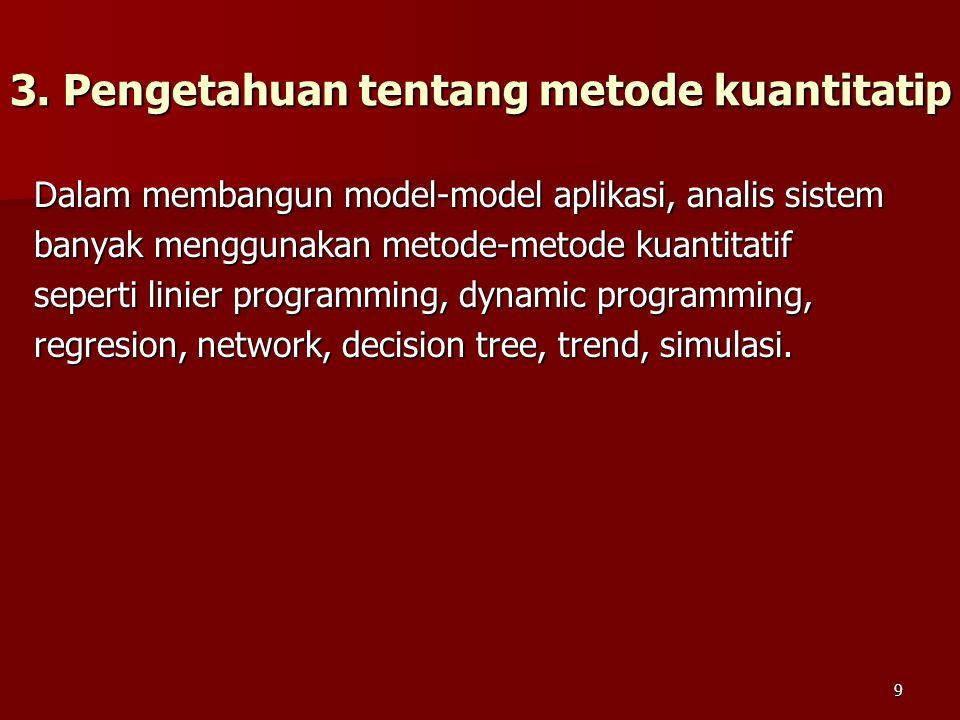 3. Pengetahuan tentang metode kuantitatip