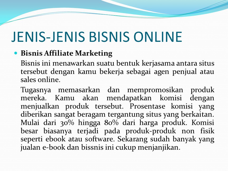 JENIS-JENIS BISNIS ONLINE