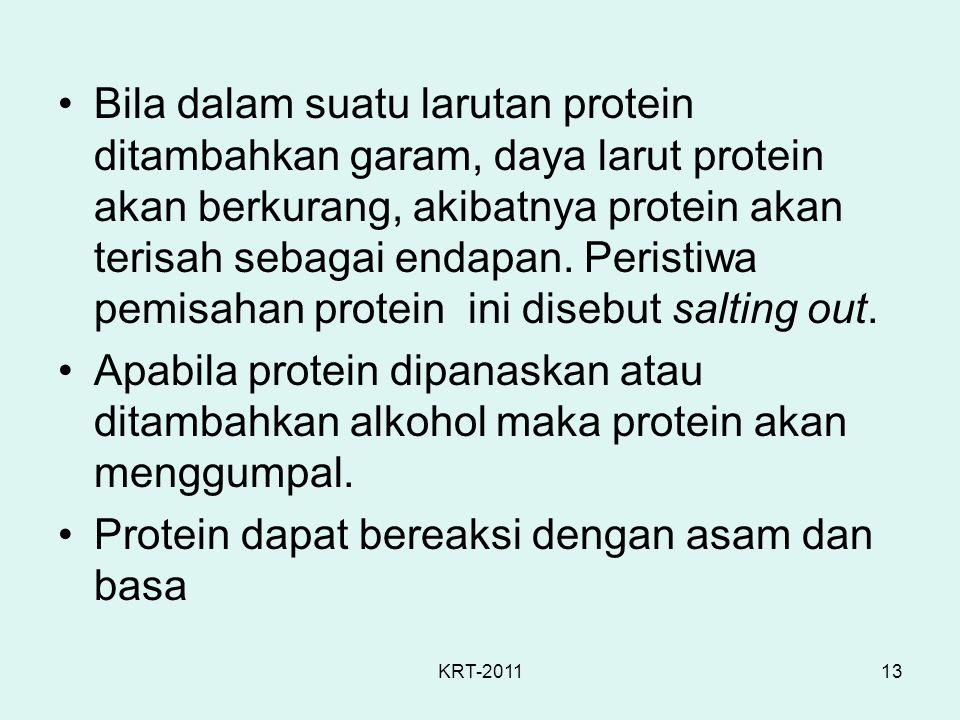 Protein dapat bereaksi dengan asam dan basa
