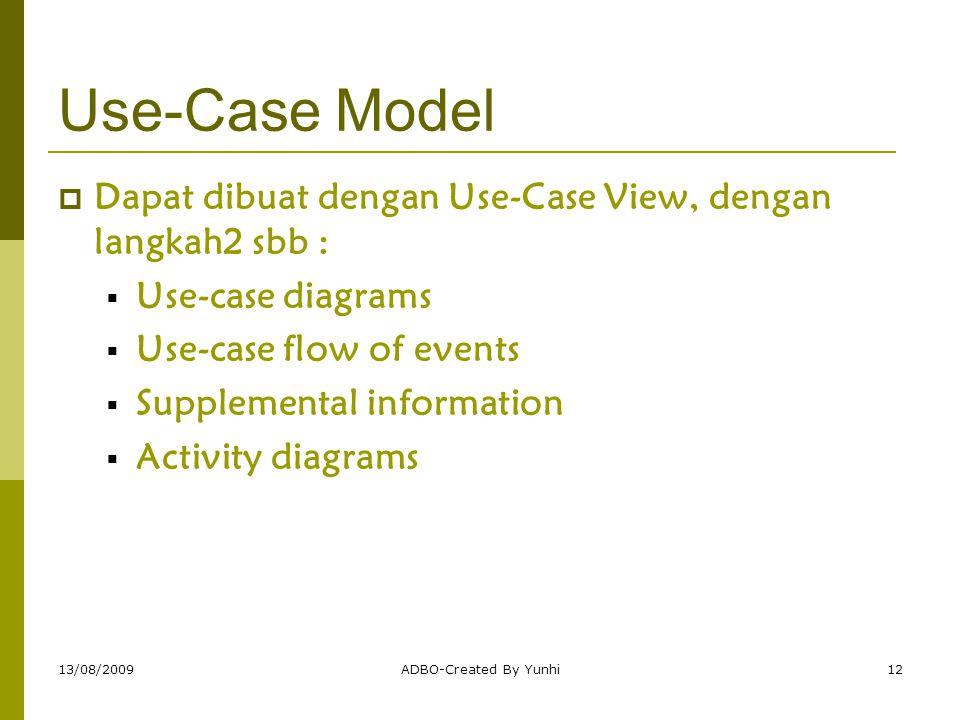 Use-Case Model Dapat dibuat dengan Use-Case View, dengan langkah2 sbb : Use-case diagrams. Use-case flow of events.