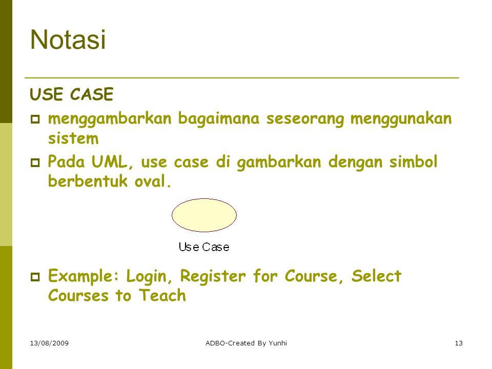 Notasi USE CASE menggambarkan bagaimana seseorang menggunakan sistem