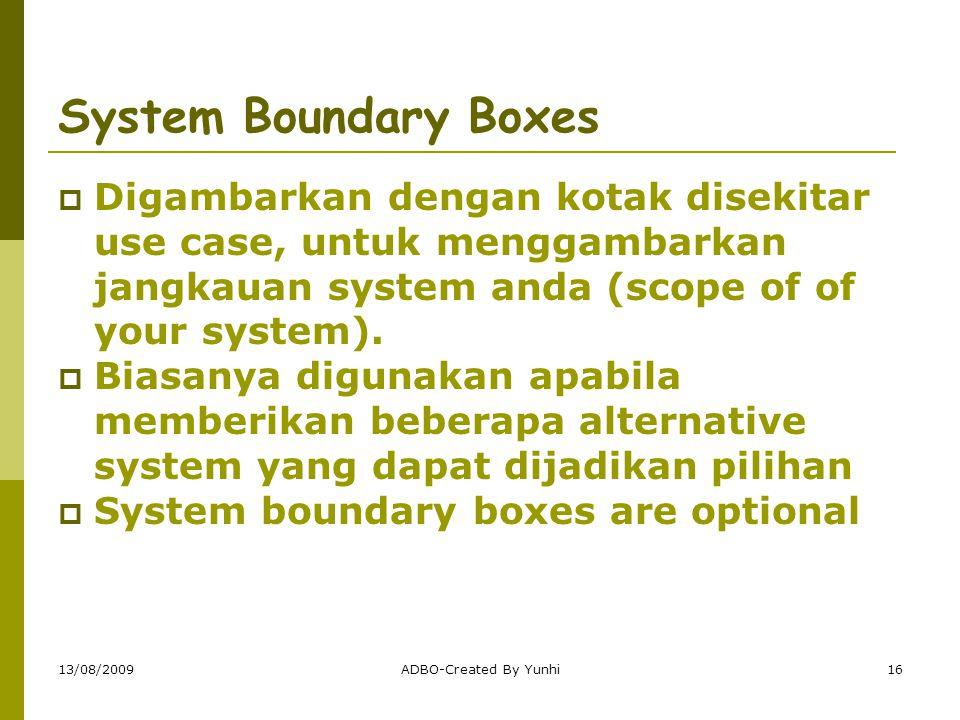 System Boundary Boxes Digambarkan dengan kotak disekitar use case, untuk menggambarkan jangkauan system anda (scope of of your system).