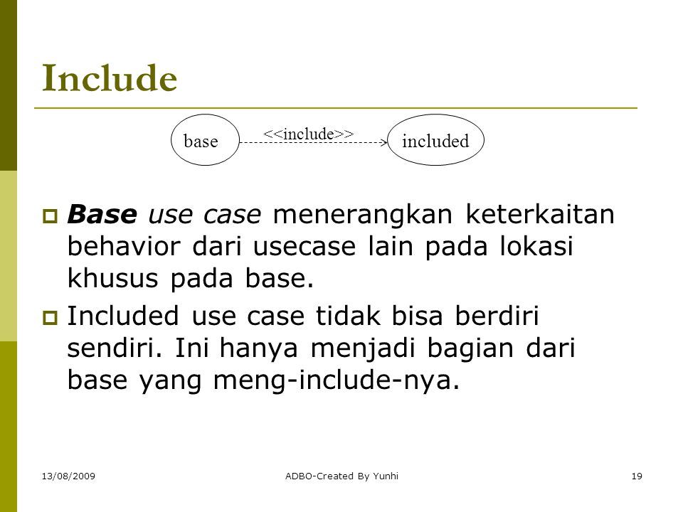 Include base. included. <<include>> Base use case menerangkan keterkaitan behavior dari usecase lain pada lokasi khusus pada base.