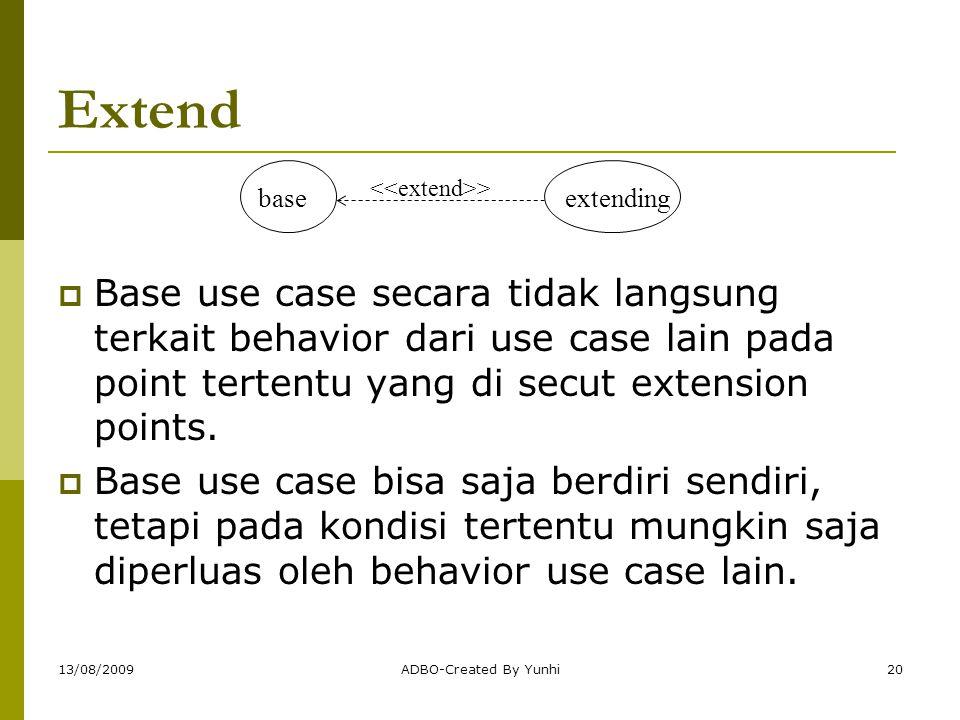 Extend base. extending. <<extend>>