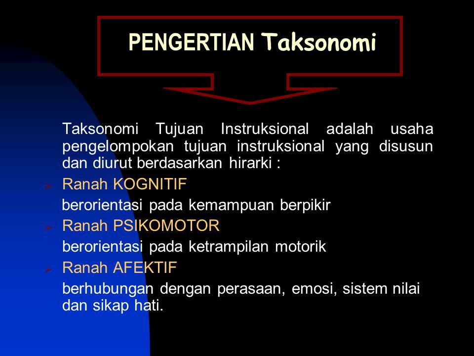 PENGERTIAN Taksonomi Taksonomi Tujuan Instruksional adalah usaha pengelompokan tujuan instruksional yang disusun dan diurut berdasarkan hirarki :