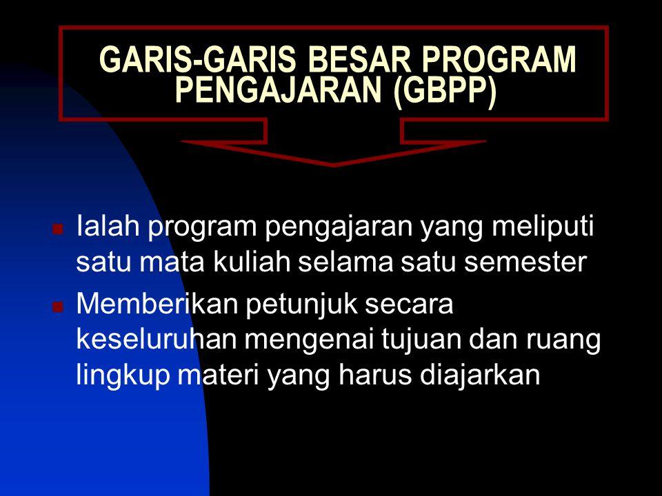 GARIS-GARIS BESAR PROGRAM PENGAJARAN (GBPP)