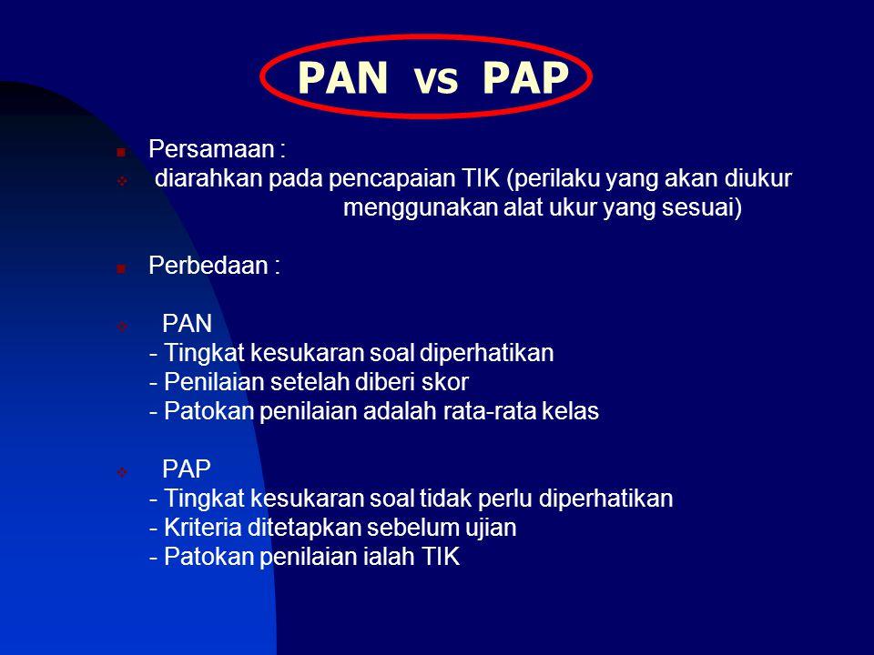 PAN VS PAP Persamaan : diarahkan pada pencapaian TIK (perilaku yang akan diukur. menggunakan alat ukur yang sesuai)