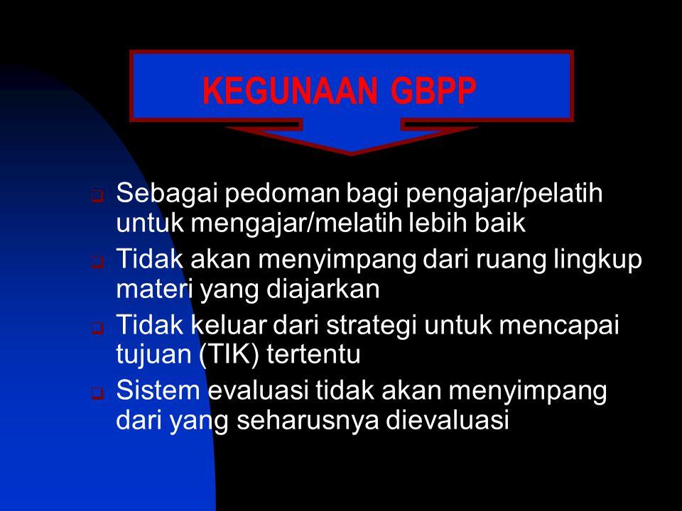 KEGUNAAN GBPP Sebagai pedoman bagi pengajar/pelatih untuk mengajar/melatih lebih baik.