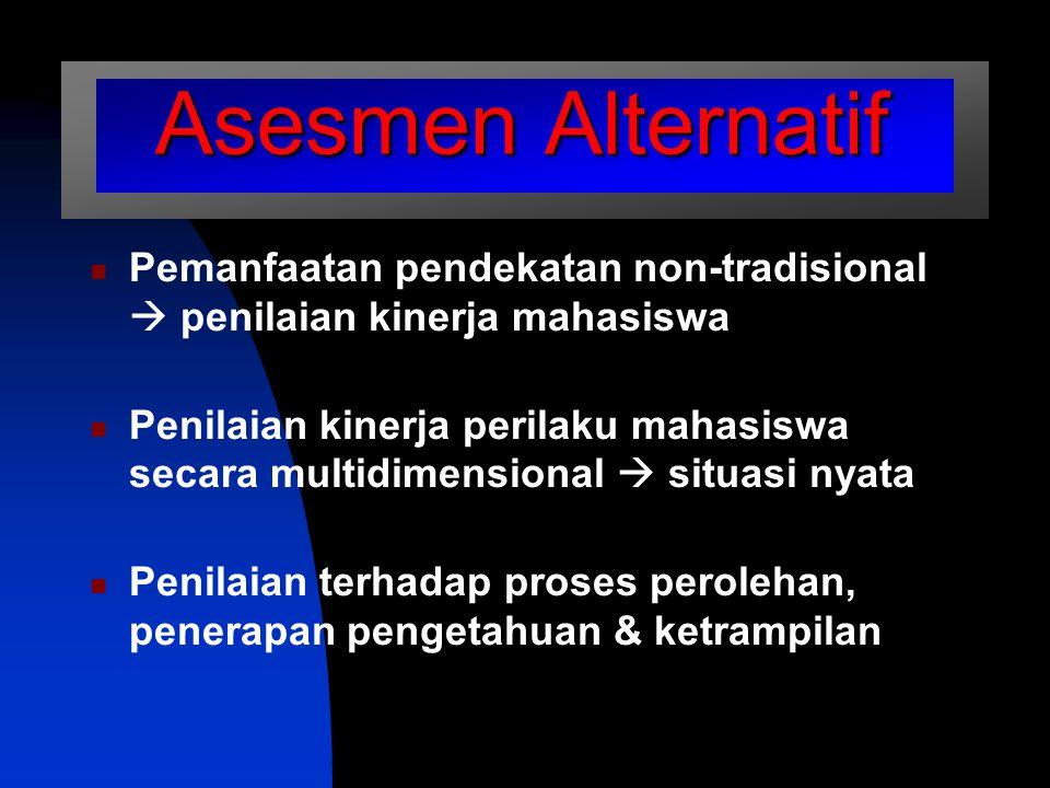 Asesmen Alternatif Pemanfaatan pendekatan non-tradisional  penilaian kinerja mahasiswa.