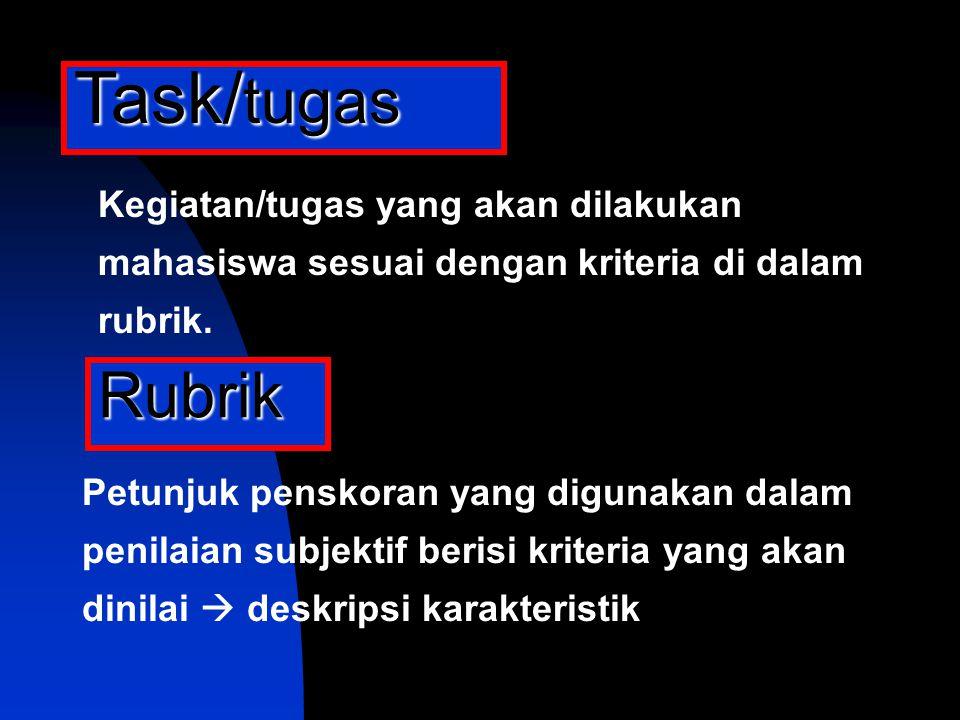 Task/tugas Kegiatan/tugas yang akan dilakukan mahasiswa sesuai dengan kriteria di dalam rubrik. Rubrik.