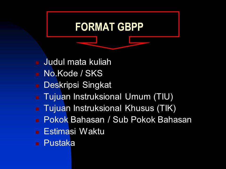 FORMAT GBPP Judul mata kuliah No.Kode / SKS Deskripsi Singkat