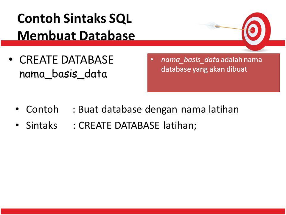 Contoh Sintaks SQL Membuat Database