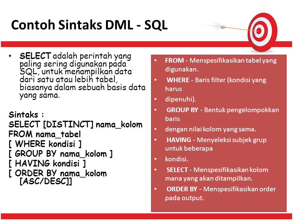 Contoh Sintaks DML - SQL