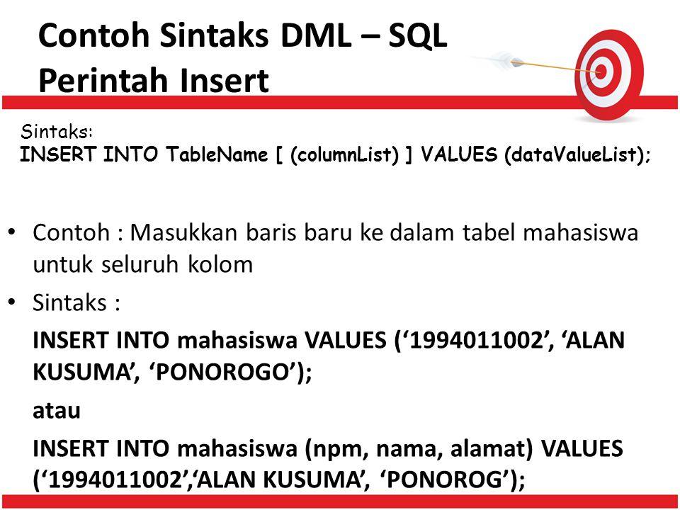 Contoh Sintaks DML – SQL Perintah Insert