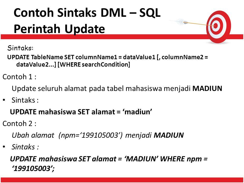Contoh Sintaks DML – SQL Perintah Update
