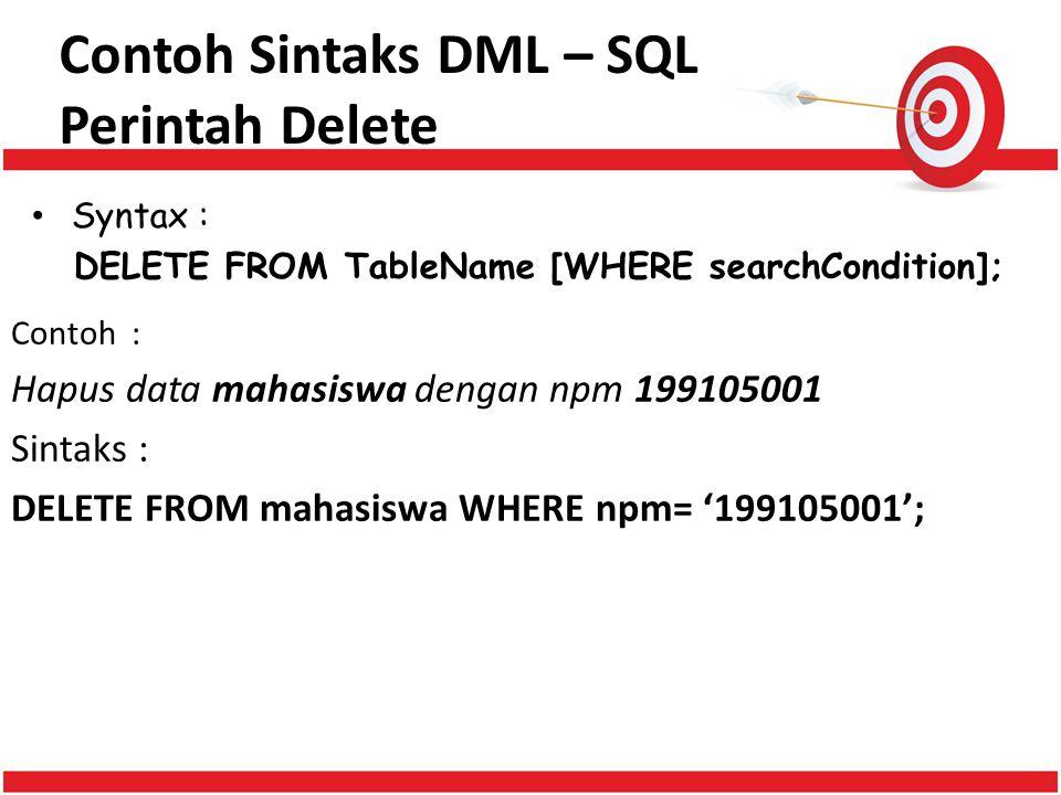 Contoh Sintaks DML – SQL Perintah Delete