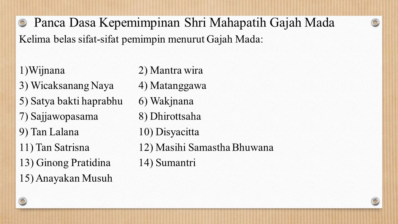 Panca Dasa Kepemimpinan Shri Mahapatih Gajah Mada