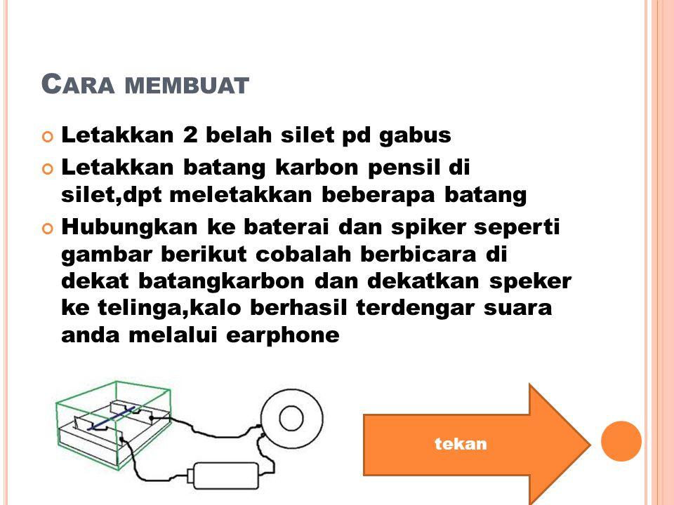 Cara membuat Letakkan 2 belah silet pd gabus