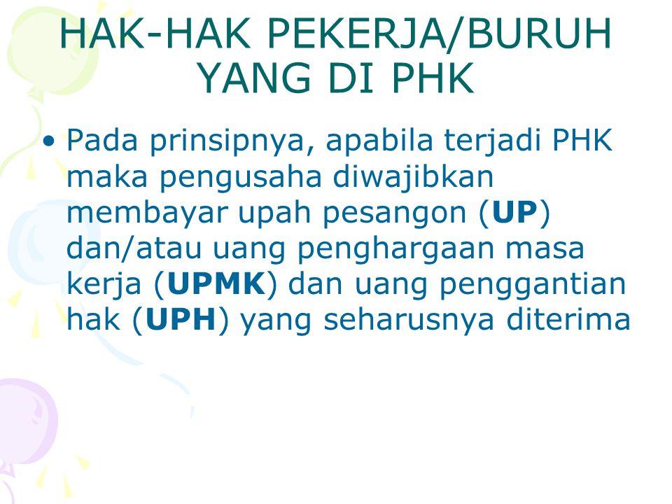 HAK-HAK PEKERJA/BURUH YANG DI PHK